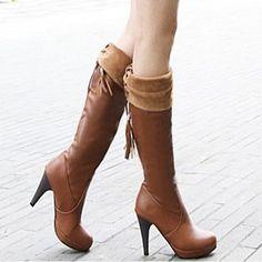 Eu34-43 2013 spring autumn new  women high-heeled platform knee high back strap tassel boots plus size free shipping SHB33025 $35.99 - 37.99