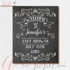Welcome Baby Shower Sign. Chalkboard Welcome by AlapipetuaDesign