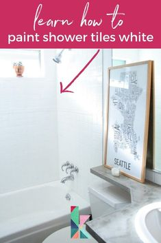 For a budget friendly bathroom refresh, paint shower tiles! This step is the best on how to paint the shower tiles white #paintshowertiles #paintshowertilesdiy #paintshowertileshowto #tiles Painting Over Tiles, Painting Bathroom Walls, Painting Shower, White Tile Shower, Shower Tiles, Shower Tile Paint, Paint Tiles, Diy Bathroom Remodel, Shower Remodel