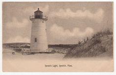 IPSWICH LIGHTHOUSE Light House MASSACHUSETTS PC Postcard Range Lights CRANE