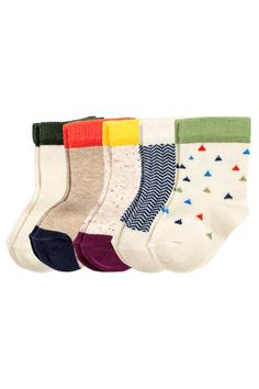 5-pack socks: Fine-knit socks in a soft cotton blend in various designs.