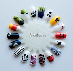 Halloween Nails by NikkiLou Nails IG www. Halloween Nails, Halloween Nail Designs, Cute Nail Designs, Acrylic Nail Designs, Women Halloween, Seasonal Nails, Holiday Nails, Evil Eye Nails, Nail Art Wheel