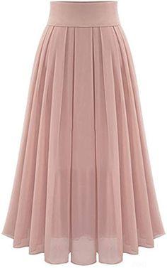 Omela Damen Hohe Taille Chiffonrock Langer Rock a Linien Faltenrock Maxirock Indian Gowns Dresses, Indian Fashion Dresses, Muslim Fashion, Fashion Outfits, Fashion Pants, Dress Fashion, Stylish Dresses For Girls, Stylish Dress Designs, Designs For Dresses