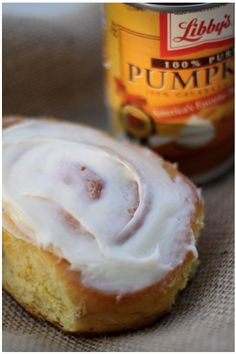 Pumpkin cinnamon roll with cream cheese frosting.