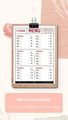 Restaurant menu design Menu Template, Templates, Restaurant Menu Design, Lunch Menu, Bar, Room Ideas, Social Media, Names, Living Room
