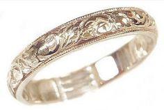 Foliate-design milgrain ring, can be cast in various metals.