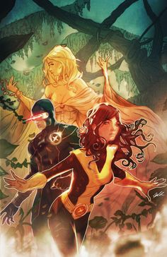 Emma Frost, Cyclops, and Kitty Pryde.