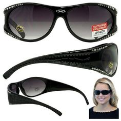 8cbbe24e1018 Global Vision Marilyn-1.5 Women s Sunglasses With Shiny Black Frames and 50  Swarovski Crystal Rhinestones