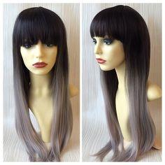 Silver Ombre - Lush Wigs - Black Silver Grey Ombre Dipdye Gothic Lolita Cosplay Lush Wig
