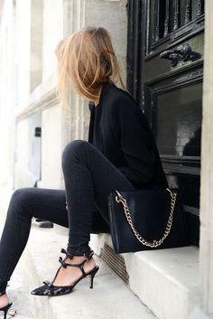 All black, lace heels, blazer