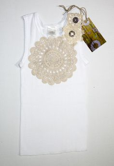 Vintage doily-embellished baby singlet donated by Sunshine Adore