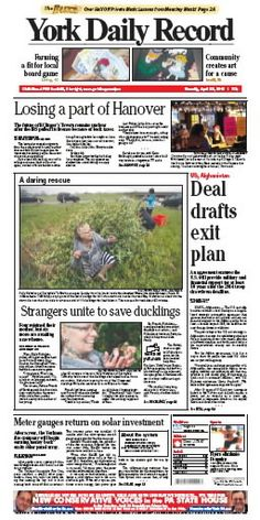 York Daily Record front page April 23