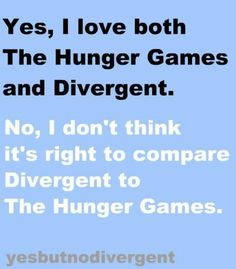 """I HATE when people say """"it sounds just like Hunger Games"""" REALLY?  Dystopian? Yes. Everything ELSE? No. Love them both."""