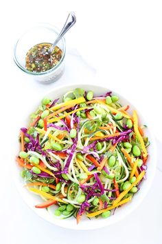 Asian Cucumber Noodle Salad Recipe - This healthy gluten-free and vegan noodle dish is always a favorite! It is light, fresh, and so tasty! Vegetarian Recipes, Cooking Recipes, Healthy Recipes, Simple Recipes, Edamame, Different Salads, Spiralizer Recipes, Zoodle Recipes, Veggie Noodles