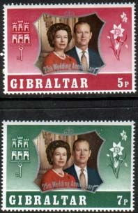 1972 Gibraltar Royal Silver Wedding Set Fine Mint SG 306 7 Scott 292 3 Other European and British Commonwealth Stamps HERE! Santa Lucia, British Overseas Territories, Stamp Dealers, Buy Stamps, 25th Wedding Anniversary, Bahamas, Commonwealth, Wedding Sets, Stamps