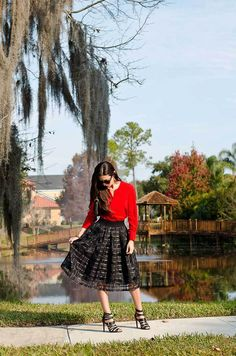 Black Midi Skirt and Red Blouse   #skirt #fashion #midiskirt #redblouse #ootd #bloggerstyle #streetstyle