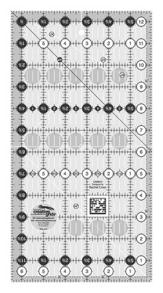 All markings of a traditional Creative Grids ruler. Easy to read on light or dark fabrics. Creative Grids Quilt Ruler inch x inch Rectangle Quilting Rulers, Quilting Tools, Rag Quilt, Quilts, Quilting Templates, Cross Hatching, Half Square Triangles, Flying Geese, Mark Cross