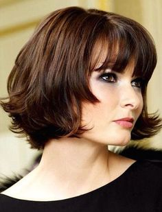 Short bob hairstyles with bangs for round faces and thick wavy hair Short Bob Haircuts, 2015 Hairstyles, Cute Hairstyles For Short Hair, Layered Hairstyles, Winter Hairstyles, Medium Haircuts, Chin Length Hairstyles, Blunt Hairstyles, Double Chin Hairstyles