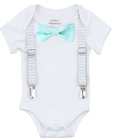 f66f3611d2af Take Home Outfit Baby Boy Grey Chevron Suspenders Mint Bow Tie – Noah's  Boytique Newborn Boy