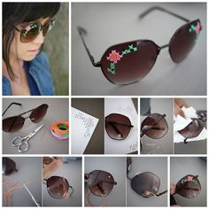 Top 5 DIY Designer Sunglasses for Women. Its Crazy. Part II, Diy And Crafts, Take some extra efforts to drill hole and cross stitch to make this design.Top 5 DIY Designer Sunglasses for Women. Its Crazy. Diy Fashion, Ideias Fashion, Fashion Beauty, Festival Looks, Teen Vogue, Rihanna E, Diy Nagellack, Buzzfeed Diy, Fashion Bubbles