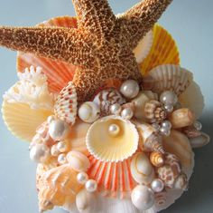 Beach Wedding Starfish Shell Cake Topper - Nautical Cake Top W Starfish…