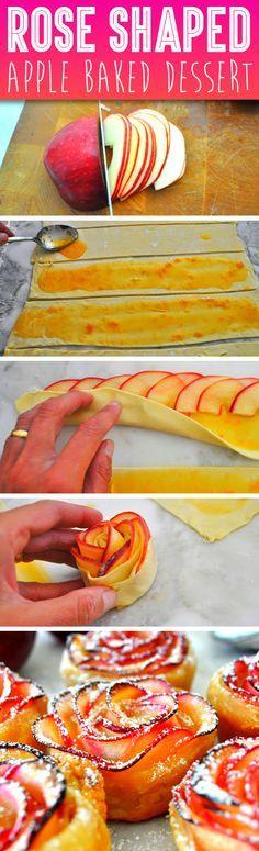 Rosas de manzanas horneadas, un postre no solo delicioso sino con una presentación diferente. #PostresFiestas