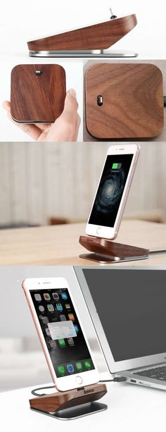 Wooden aluminum charge cable organizer iphone cell phone charging station d Iphone Holder, Charger Holder, Cell Phone Stand, Phone Charger, Cable Organizer, Wooden Organizer, Wallet Tutorial, Desk Accessories, Diy And Crafts