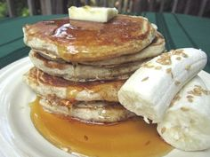 Banana Flax Pancakes from Once A Month Mom