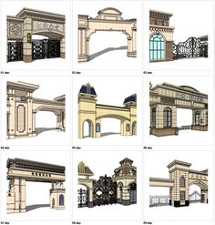 ★Sketchup Types of Neoclassicism Style Entrance Design Sketchup-This Sketchup models collection can be used in your design max,Revit) Main Gate Design, House Gate Design, Door Gate Design, Entrance Design, Entrance Gates, Modern House Design, 3d Model Architecture, Islamic Architecture, Concept Architecture