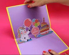Cartão de aniversário, happy birthday, unicorn, unicornio, balões