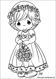 Floral girl - Precious Moments coloring pages.