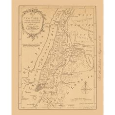 New York City Vintage Map Reproduction. Handmade paper print. Vintage map of New York City.