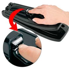 The press-on one-handed nail clipper can be used by a person who has the use of only one arm/hand to clip his/her nails.