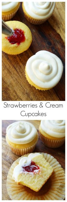 Easy Filled Strawberries and Cream Cupcakes