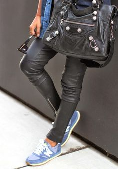 leather pants & sneakers