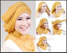 Ideas For Dress Hijab Pesta Simple Tutorial Hijab Segitiga, Turban Tutorial, Turban Hijab, Stylish Hijab, Hijab Chic, Muslim Fashion, Hijab Fashion, Fashion Outfits, Bandanas