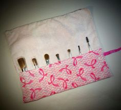 Breast Cancer Awareness makeup brush traveling bag by SwtMaggisSewnSews on Etsy