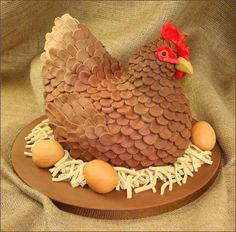 "Chicken cake - would be fun for a ""hen party"" or coupled with the rooster cake for an anniversary event"