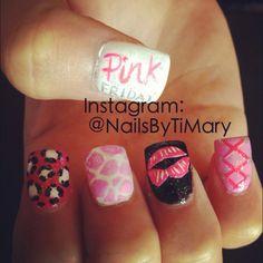 Pink Friday nicki minaj nails