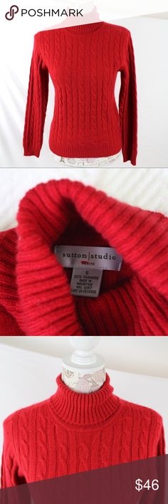 """Red Cashmere Cable Knit Turtleneck Small Petite This classic turtleneck features soft 2 ply cashmere, long sleeves, cable knit and slim fitting. 100% Cashmere. Dry clean. Made in Mauritius. 100% Cashmere 2 Ply cashmere Turtleneck Long sleeves Cable knit Slim fit Style: Pullover. Pre-owned with no signs of wear.  No pilling, pulls, stains, holes or stretched out parts or discoloration. Lovely. (When flat on front side, 14.5"""" between shoulders, 16"""" between underarms and 22"""" length.) Sutton…"""