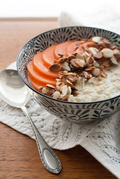Creamy Millet Porridge with Persimmons and Toasted Almonds - veganize with nondairy milk