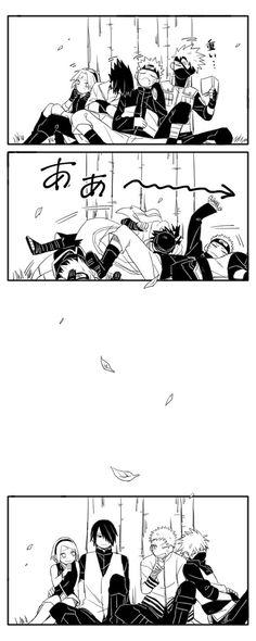 Sasuke, Sakura, Naruto e Kakashi (Time Anime Naruto, Comic Naruto, Kakashi Sensei, Naruto Sasuke Sakura, Naruto Cute, Naruto Shippuden Sasuke, Images Kawaii, Naruto Team 7, Funny Naruto Memes