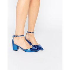 ASOS SPACE Pointed Heels (1.475.000 VND) ❤ liked on Polyvore featuring shoes, pumps, cobalt metallic, low pumps, low block heel pumps, mid heel shoes, metallic shoes and asos