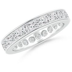 Channel Set Princess-Cut Diamond Eternity Band ($85) ❤ liked on Polyvore featuring jewelry, rings, 14k wedding ring, princess cut wedding rings, diamond eternity rings, eternity rings and diamond band wedding ring