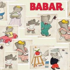 Camelot Cottons House Designer - Babar - Stamps in Cream (from a whole line of Babar-themed prints)