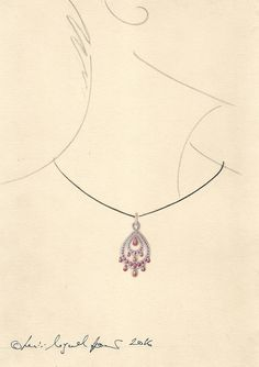 Jewellery render in gouache for a delicate ruby pendant in the Indian style.