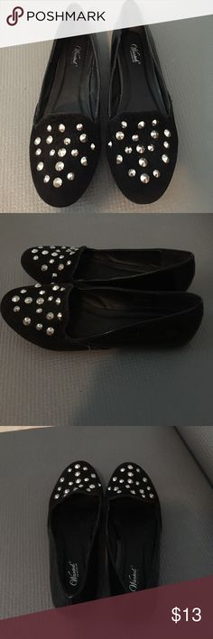 Black studded loafers Chic black studded loafers. Patten leather back. Silver studs. Never been worn and are in PERFECT condition. Wanted Shoes Flats & Loafers