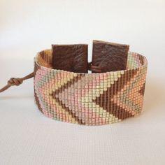 Chevrons loom beaded cuff in chocolate peach