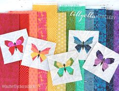 Butterfly Charm Blocks | Free Paper Piecing Pattern by lillyella stitchery.   NOW I want to piece butterflies.