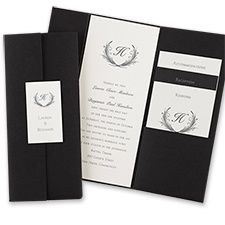 Trifold Black Wedding Invitations Set the stage for your elegant wedding with this gorgeous tri-fold black pocket. Dimensions: 4 x 9 Folded Pocket Invitation, Pocket Wedding Invitations, Wedding Invitation Wording, Invitation Design, Wedding Stationery, Black And White Wedding Invitations, Low Cost Wedding, Handmade Wedding, Elegant Wedding